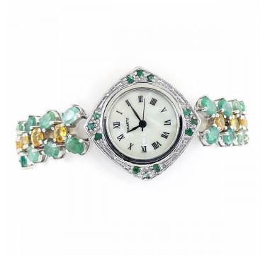 Яркие Женские Часы из Серебра с Натуральными Изумрудами и Цитринами