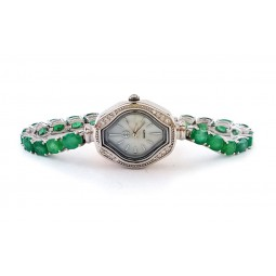 Элегантные Наручные Часы Женские из Серебра 925 Пробы с Изумрудами