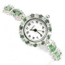 Природный Зеленый Изумруд и Фианит Серебряные Женские Часы на Руку