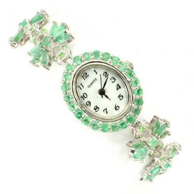 Восхитительные Женские Наручные Часы с Натуральным Изумрудом и Цаворитом