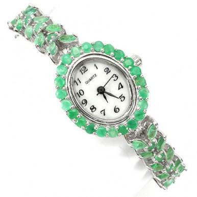 Прелестные Серебряные Часы Женские с Природынм Зеленым Изумрудом