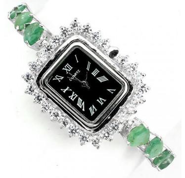 Ювелирные Серебряные Женские Часы с Натуральным Изумрудом и Фианитом