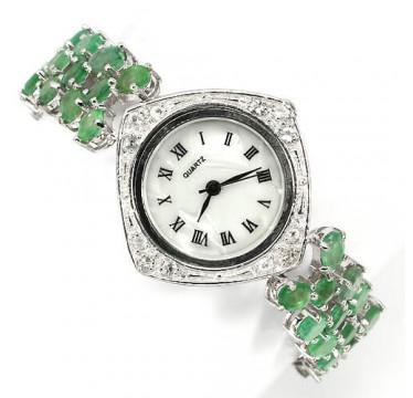 Потрясающие Серебряные Женские Часы с Натуральным Изумрудом и Топазом