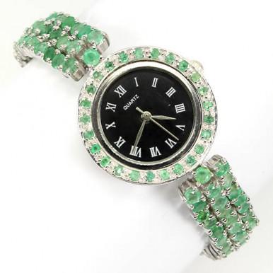 Роскошные Наручные Часы из Серебра для Женщин с Натуральным Изумрудом