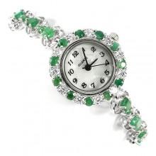 Милые Женские Серебряные Часы на Руку с Природным Изумрудом и Финаитом