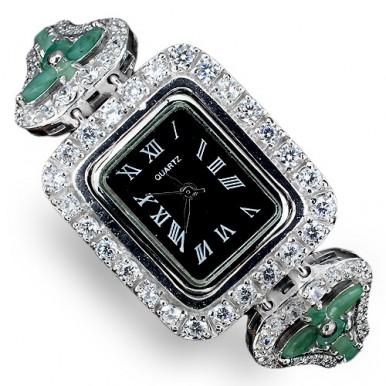 Натуральный Зеленый Изумруд и Фианит Серебряные Женские Часы на Руку