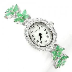 Очаровательные Серебряные Наручные Часы с Изумрудом и Белым Топазом