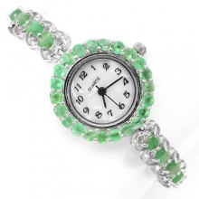 Красивые Серебряные 925 Пробы Часы для Женщин с Натуральным Изумрудом