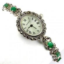 Винтажный Стиль Серебряные Женские Часы с Изумрудом и Марказитом