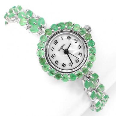 Блестящие Наручные Женские Часы из Серебра с Натуральным Изумрудом