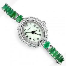 Отличные Серебряные Часы с Большим Зеленым Изумрудом и Белым Топазом