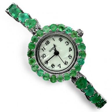 Драгоценные Наручные Женские Часы из Серебра 925 Пробы с Изумрудом