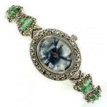 Изящные Серебряные Часы в Винтажном Стиле с Изумрудом и Марказитом