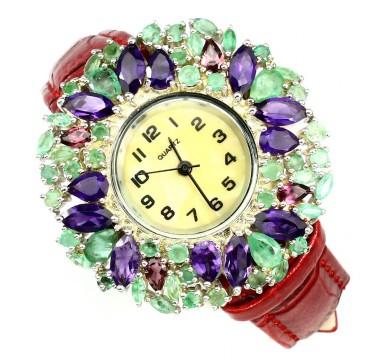 Прелестные Серебряные Часы с Изумрудом и Кожаным Ремешком