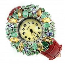 Грациозные Женские Серебряные Часы с Изумрудом на Ремешке