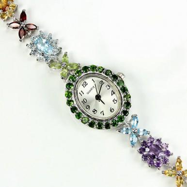 Привлекательные Женские Серебряные Часы с Природными Камнями