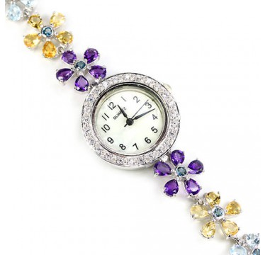 Блестящие Наручные Серебряные Часы для Женщин с Природными Камнями