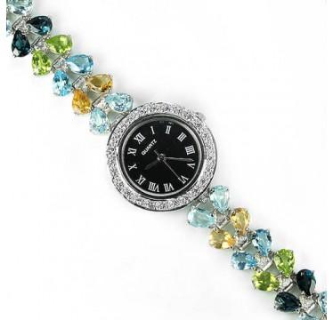 Потрясающие Наручные Часы для Женщин с Природными Камнями из Серебра