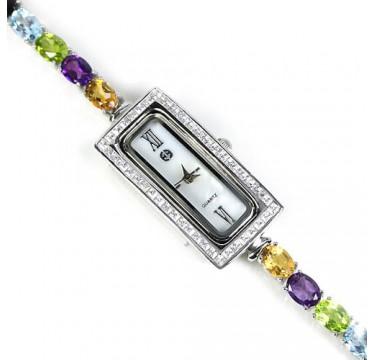 Прелестные Наручные Часы из Серебра для Женщин с Драгоценными Камнями