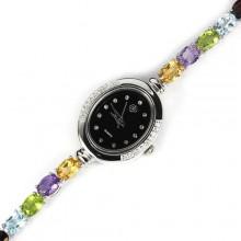 Элегантные Серебряные Женские Часы с Яркими Натуральными Камнями