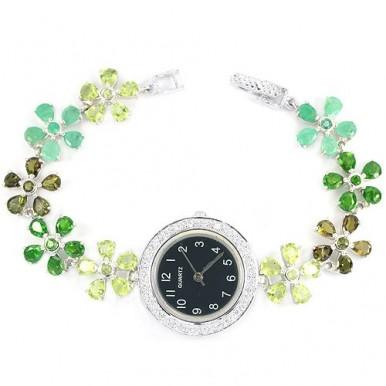 Цветочный Дизайн Серебряные Часы для Женщин с Зелеными Камнями