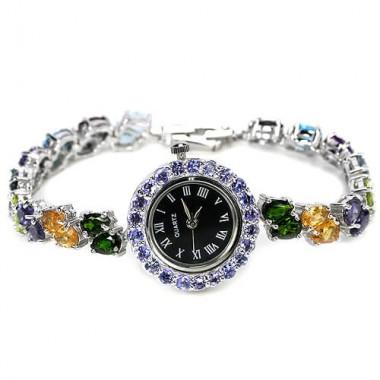 Ослепительные Натуральные Полудрагоценные Камни Часы из Серебра