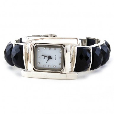 Тяжелые Женские Наручные Часы из Серебра с Черным Ониксом