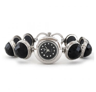 Круглый Натуральный Черный Оникс Женские Серебряные Часы