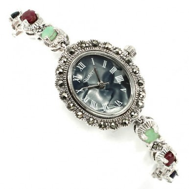 Винтажные Женские Часы на Руку из Серебра 925 Пробы с Природными Камнями