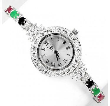 Ювелирные Серебряные Наручные Часы для Дам с Натуральными Камнями