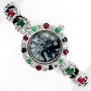 Великолепные Наручные Серебряные Часы для Дам с Натуральными Камнями