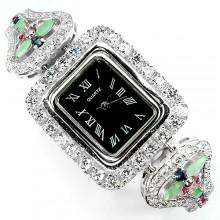 Роскошные Женские Наручные Часы из Серебра с Натуральными Камнями