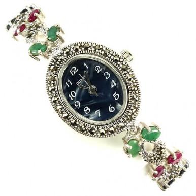 Серебряные Женские Наручные Часы с Натуральными Камнями и Марказитом