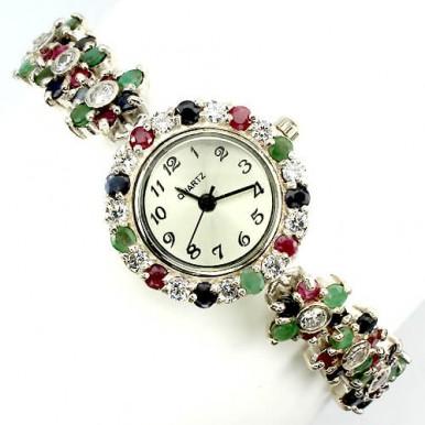 Завораживающие Женские Часы из Серебра с Драгоценными Камнями
