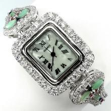 Прекрасные Женские Серебряные Часы на Руку с Натуральными Камнями