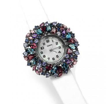 Стильные Серебряные Часы с Кожаным Ремешком Топаз, Танзанит, Аметист