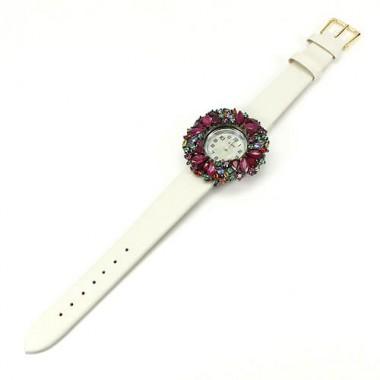 Кожаный Ремешок Серебряные Женские Часы с Натуральными Камнями