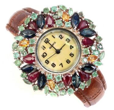 Драгоценный Сапфир, Рубин и Изумруд Женские Серебряные Часы