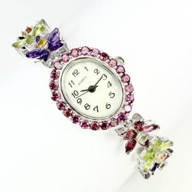 Красивые Серебряные Часы для Женщин с Полудрагоценными Камнями
