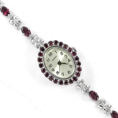 Серебряные 925 Пробы Наручные Часы для Женщин с Натуральным Родолитом