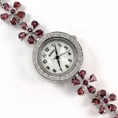 Прелестные Наручные Серебряные Женские Часы с Родолитом и Фианитом