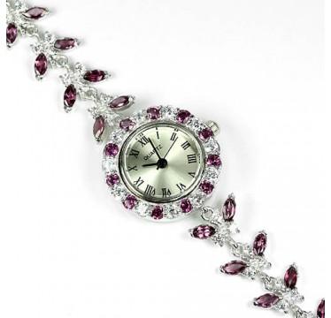 Драгоценные Часы для Женщин на Руку из Серебра 925 Пробы с Родолитом