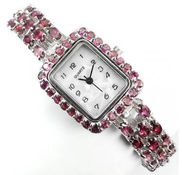 Фантастические Серебряные Женские Часы с Малиновым Родолитом