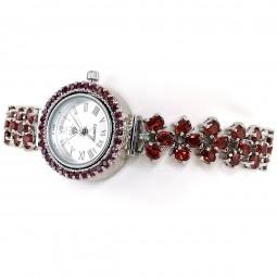 Красный Гранат Ювелирные Часы Серебро с Регулируемым Браслетом
