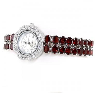Часы из Серебра Женские с Красными Гранатами и Белыми Топазами