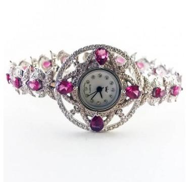 Эксклюзивные Серебряные Женские Часы с Природным Малиновым Родолитом