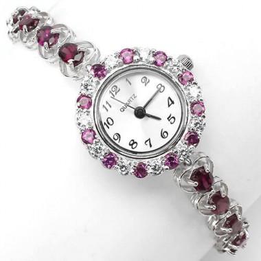 Очаровательные Серебряные Наручные Часы для Женщин с Родолитом