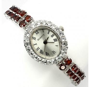 Завораживающие Женские Часы из Серебра с Гранатом и Голубым Топазом