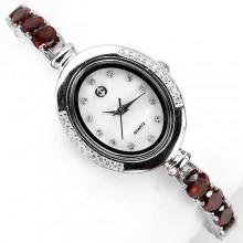 Сияющие Серебряные Наручные Часы для Женщин с Красным Гранатом