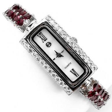 Роскошные Серебряные Наручные Часы с Малиновым Родолитом